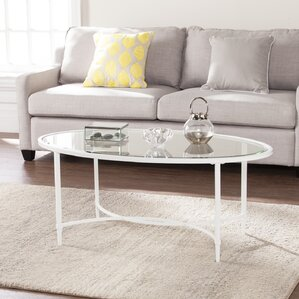 Prestridge Metal/Glass Oval Coffee Table by Varick Gallery