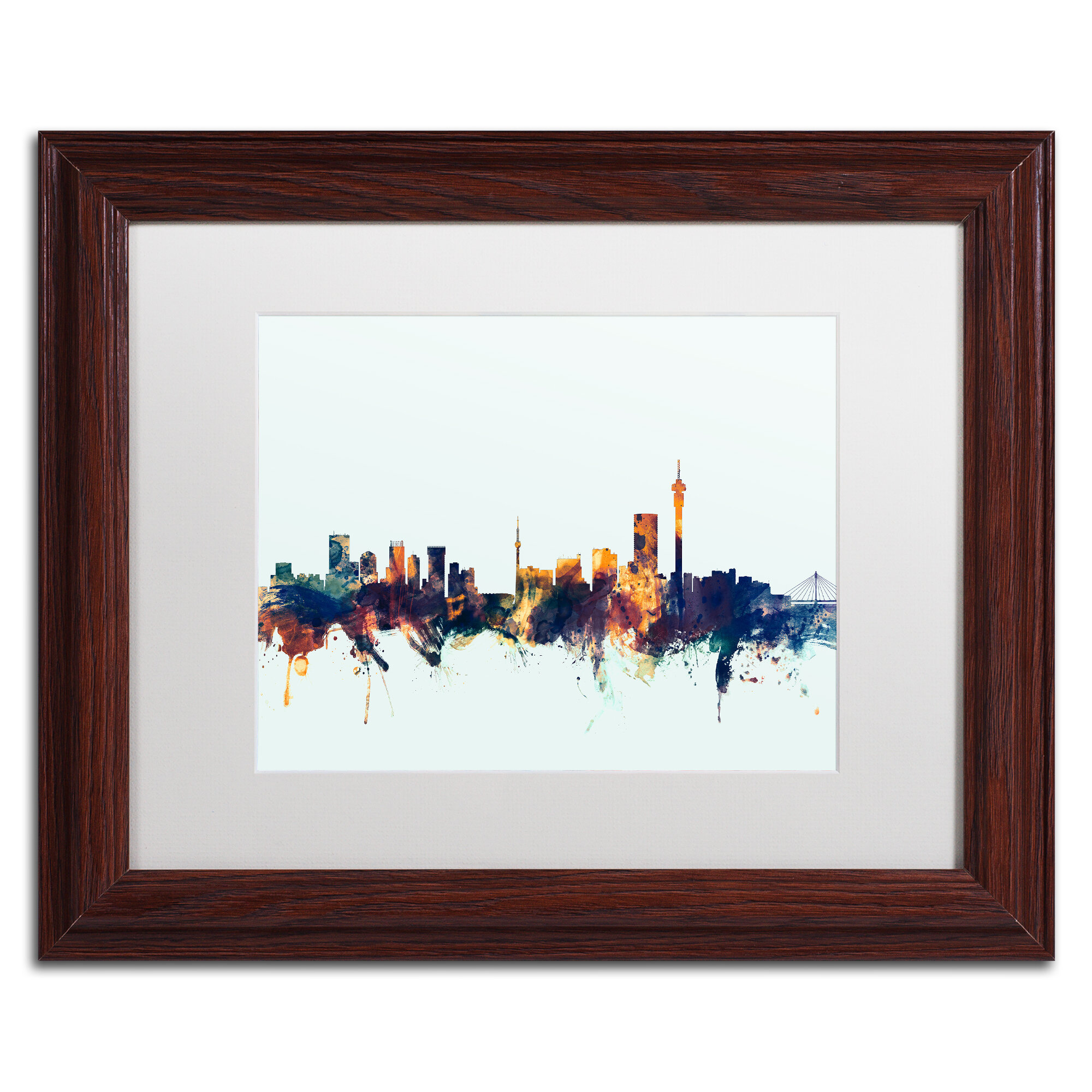 Trademark Art Johannesburg Skyline Blue Framed Graphic