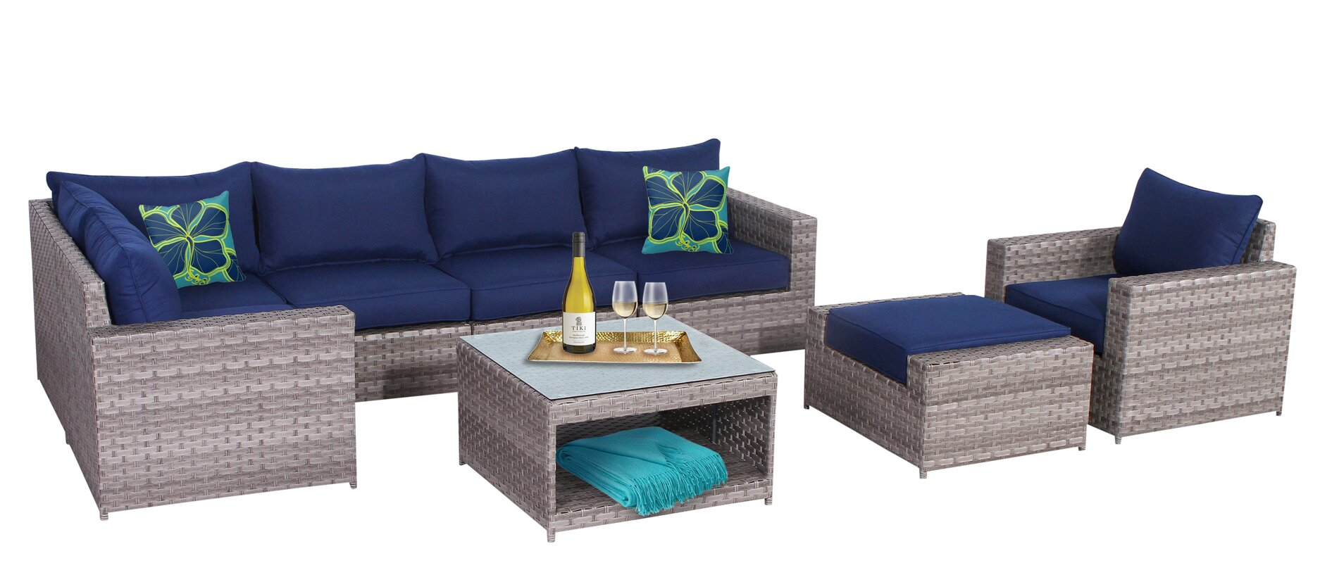 Longshore Tides Burkley 8 Piece Sectional Set with Cushions