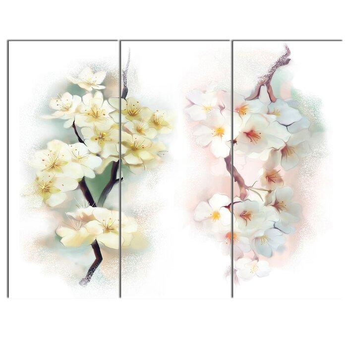Designart white flower bouquet illustration 3 piece painting print white flower bouquet illustration 3 piece painting print on canvas set mightylinksfo