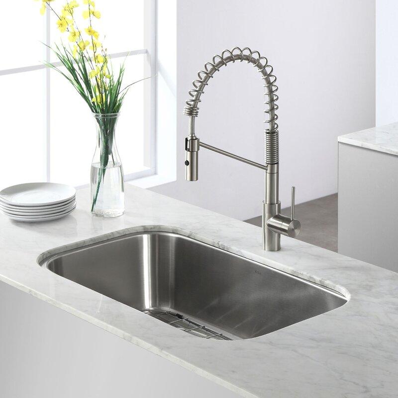 """Undermount Kitchen Sinks Stainless Steel kraus stainless steel 32.25"""" x 18.5"""" undermount kitchen sink"""