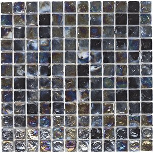 30.5cm x 30.5cm Hammered Glass Mosaic Tile in Black