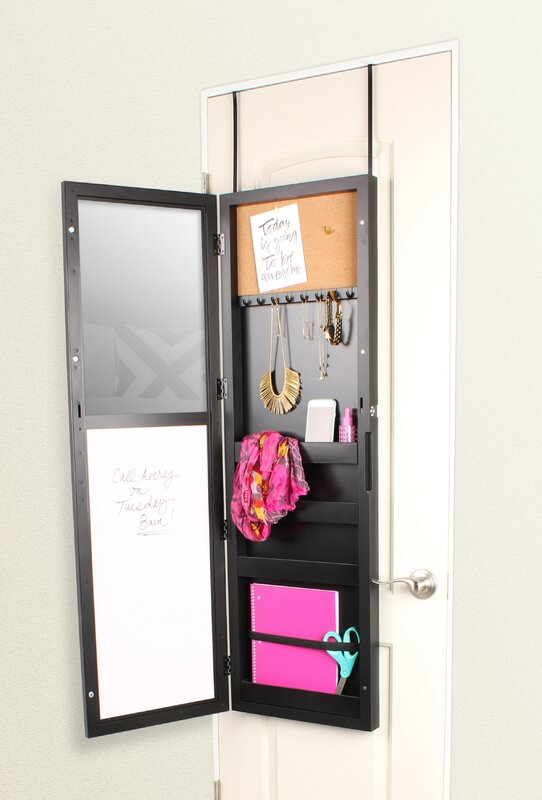 Storage Over The Door Jewelry Armoire With Mirror