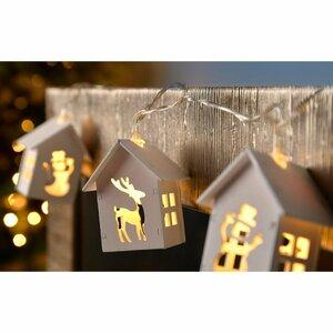 Reindeer and Snowman Wooden House 10 Light LED String Lighting
