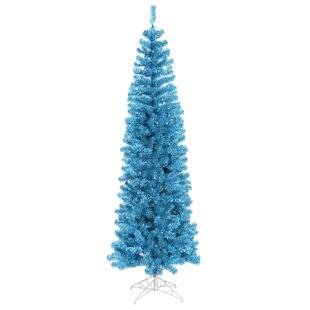 45 sky blue pencil pine artificial christmas tree with 150 blue lights with stand - Christmas Tree With Blue Lights