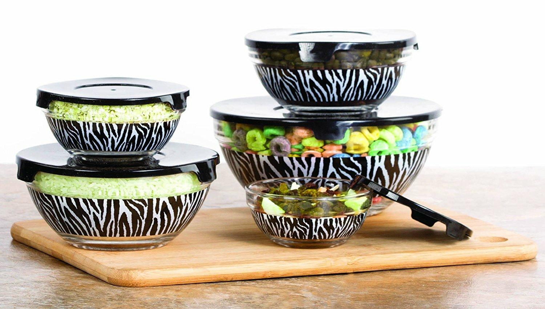 surprising Zebra Kitchen Set Part - 5: Ebern Designs Skrzypek Zebra Glass Prep Kitchen Freezer 5-Container Food  Storage Set u0026 Reviews | Wayfair