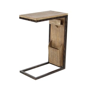 Baillons Rustic Fir Wood and Iron Rectangular Open Frame End Table by Loon Peak