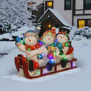 sledding 3 snowmen christmas decoration - Decorative Christmas Sleigh Large