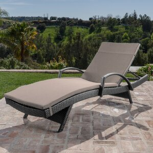 Berne Outdoor Wicker Armed Chaise Lounge With Cushion