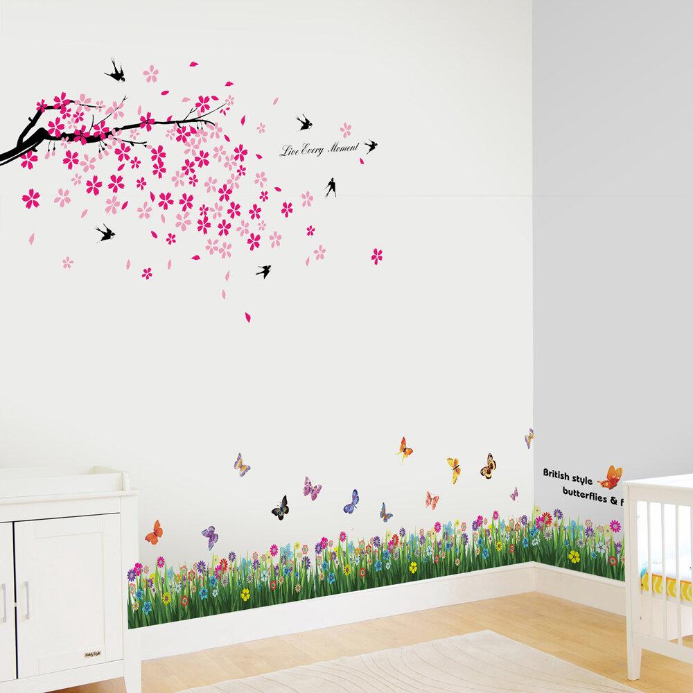 Walplus Butterfly Grass And Swallow Wall Decal Wayfair