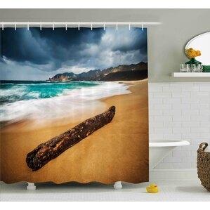 Audra Driftwood Seascape Theme Old Piece Of Tree Shower Curtain