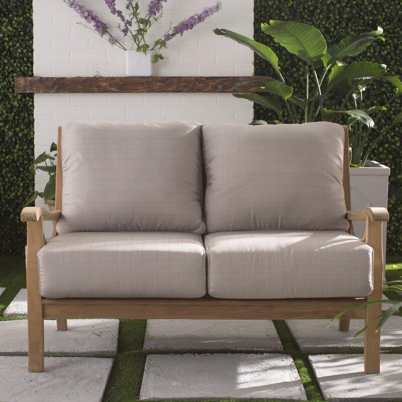 Birch Lane Heritage Brunswick Teak Loveseat With Cushions Reviews