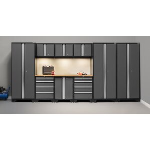 bold 30 series 10 piece garage storage cabinet set with worktop