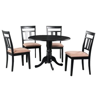 Ansonia 5 Piece Drop Leaf Solid Wood Dining Set in Black/Brown