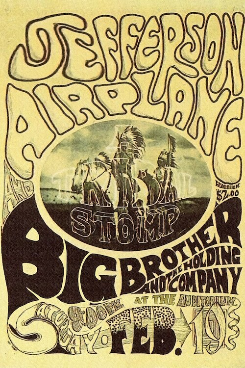 'Fillmore Auditorium Concert Poster (Tribal Stomp - Jefferson Airplane &  Big Brother and the Holding Company)' Vintage Advertisement on Canvas
