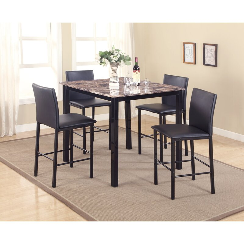 Red Barrel Studio Noyes 5 Piece Counter Height Dining Set Reviews Wayfair