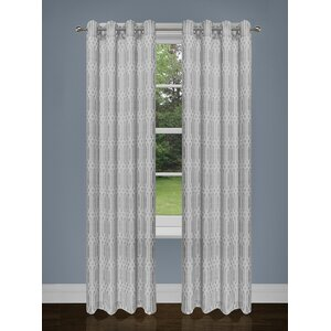 Lavoie Two Tone Damask Grommet Curtain Panels (Set of 2)