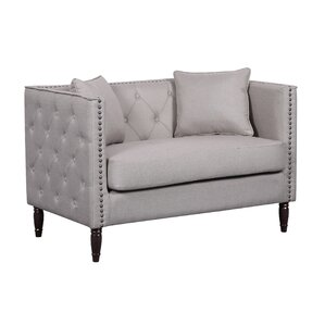 Linen Tufted Nailhead Trim Chesterfield Loveseat by Container