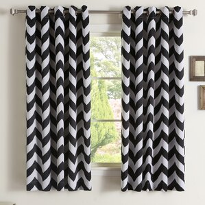 Chaplin Chevron Semi Sheer Thermal Grommet Curtain Panels (Set Of 2)