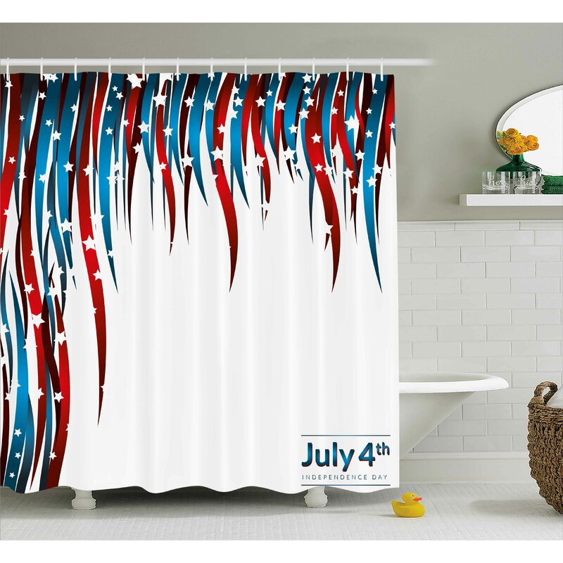 4th Of July American Love Inspired Heart Shaped Flags Traditional United States Design Shower Curtain