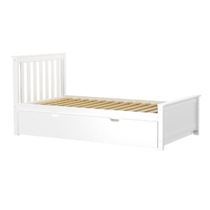 solid wood twin platform bed with trundle frame