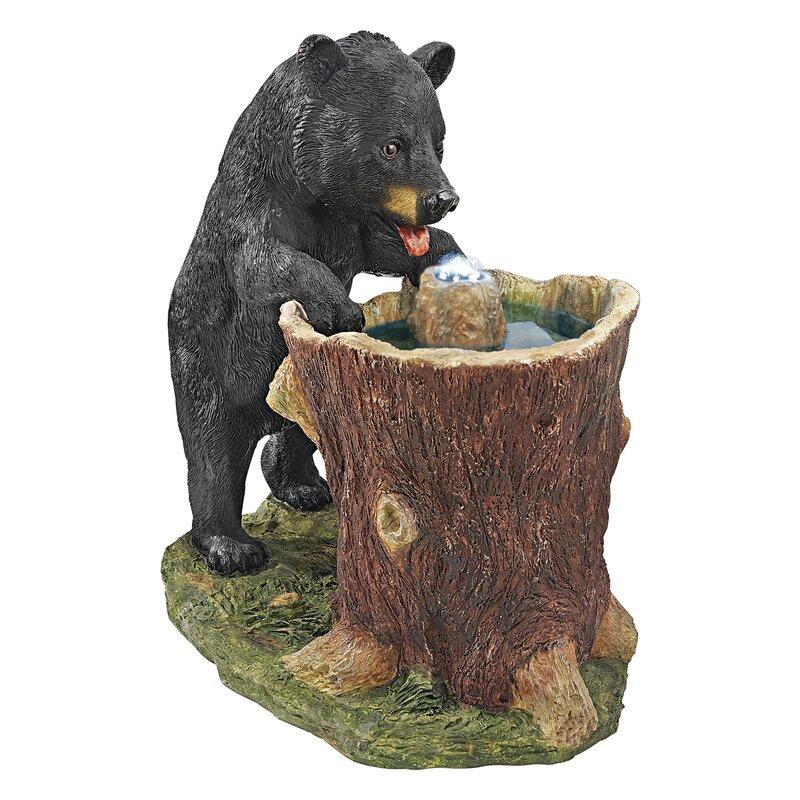 Beau Guzzling Gulp Black Bear Garden Fountain Statue