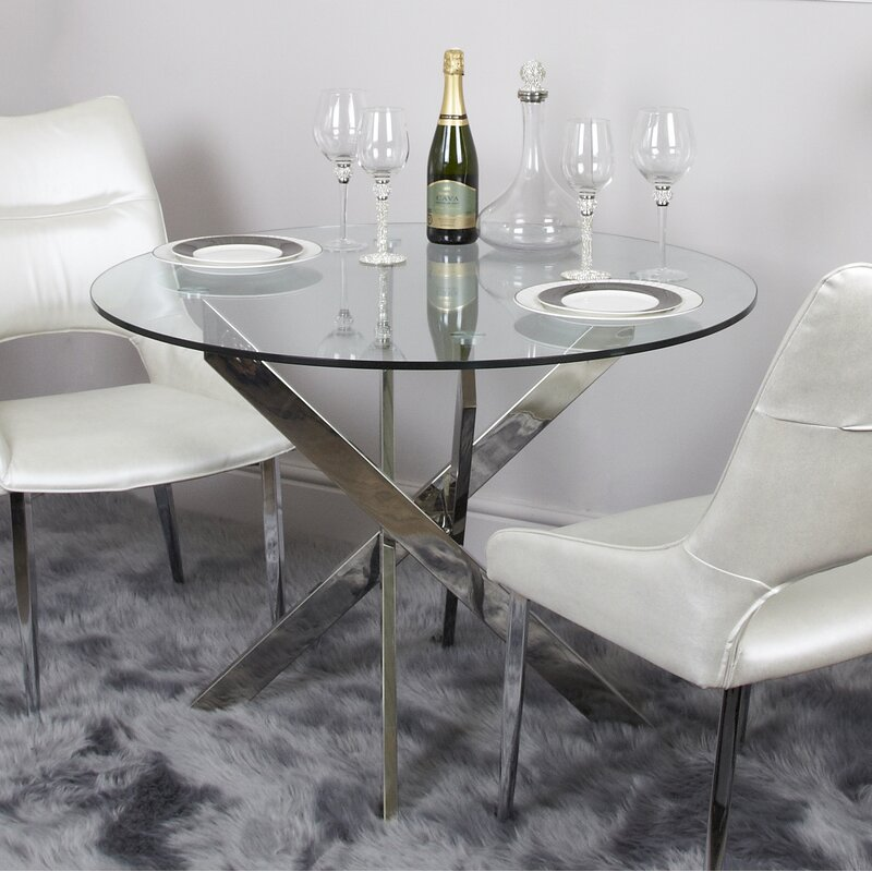 Aubry Glass Round Dining Table