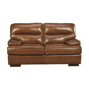 Haines Leather Loveseat by 17 Stories