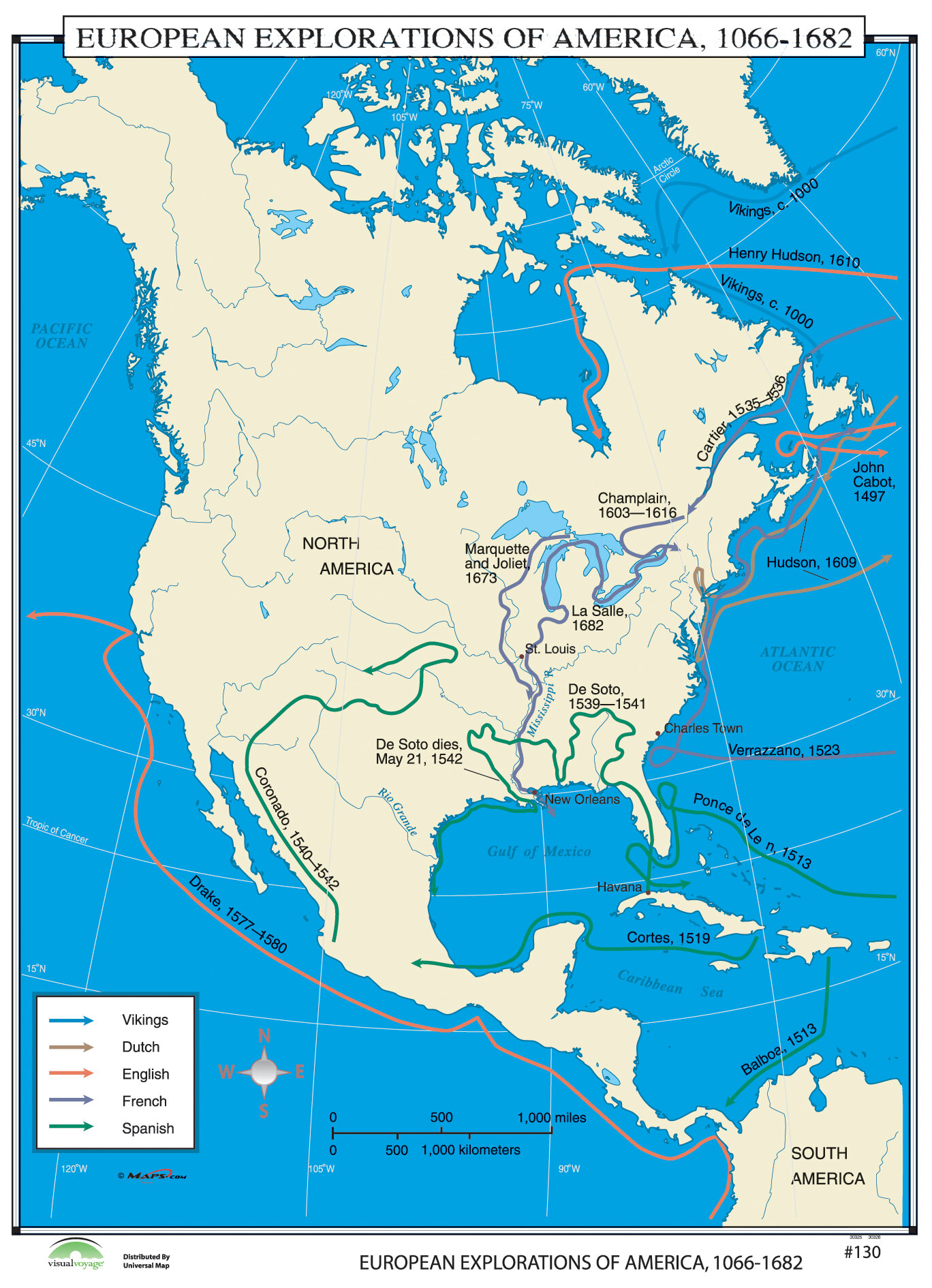 Map Of America History.World History Wall Maps European Explorers Of North America