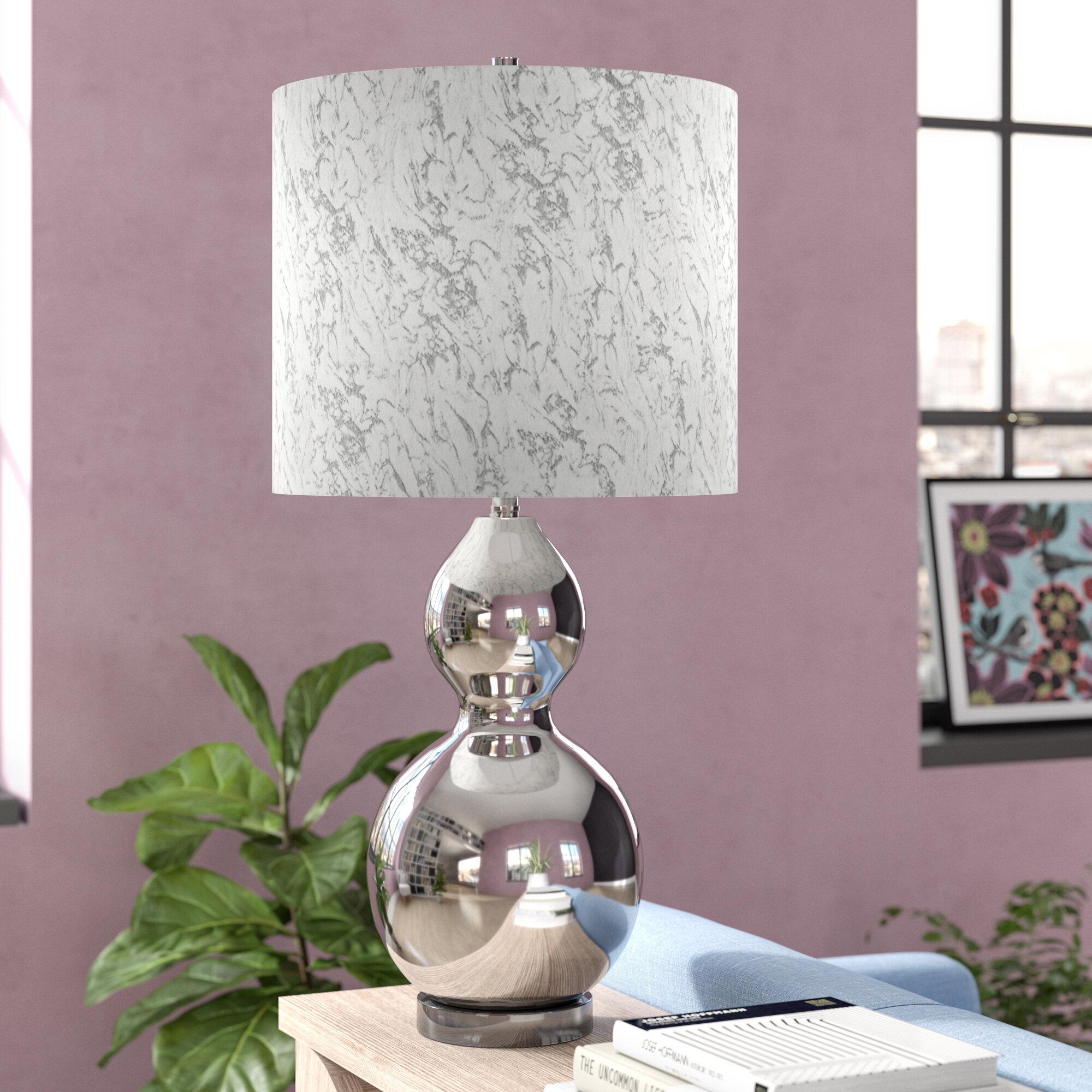 Latitude Run Baden Chrome Transitional Glass Body And Acrylic Base