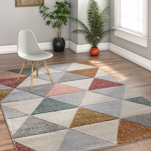 Scheel Modern Triangle Shapes Cream Geometrix Area Rug
