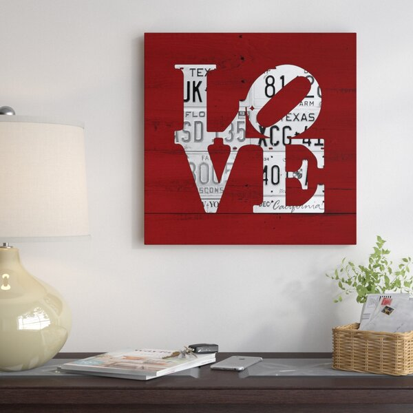 East Urban Home Recycled License Plate Love Word Art Textual Art On Wrapped Canvas Wayfair