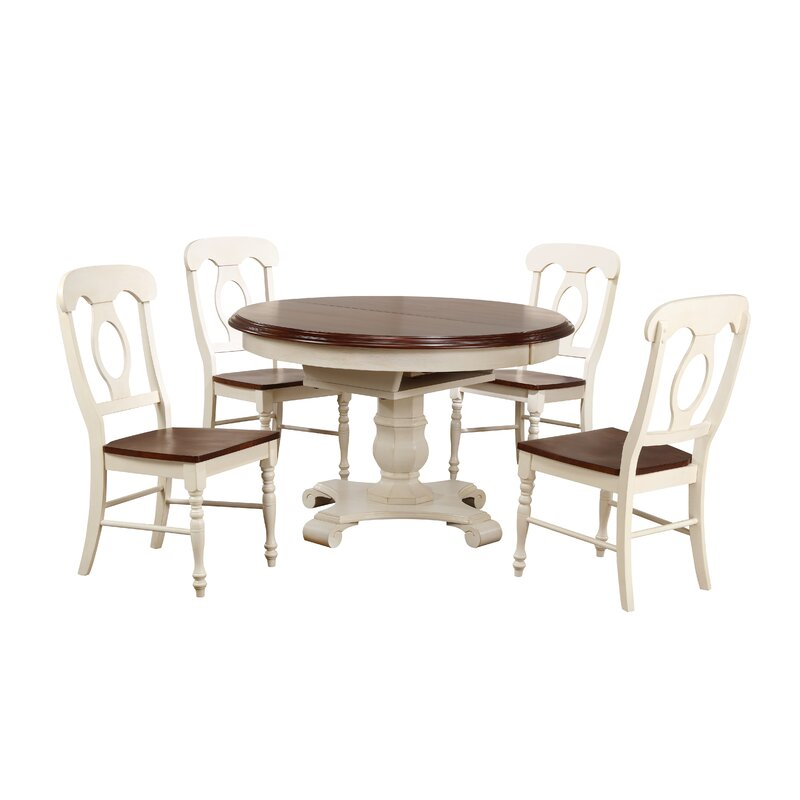 Superbe Aponte Butterfly Leaf 5 Piece Breakfast Nook Solid Wood Dining Set