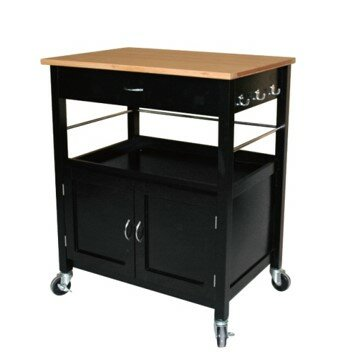 Andover Mills Kibler Kitchen Island Cart with Natural Butcher Block Bamboo Top Base Finish: Black