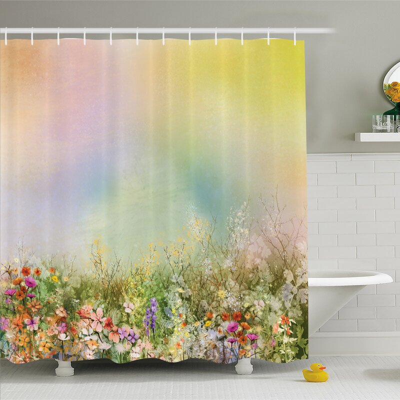 Ambesonne Watercolor Flower Home Cosmos Daisy Cornflower Wildflower Dandelion In Floral Meadow Scene Shower Curtain Set Reviews