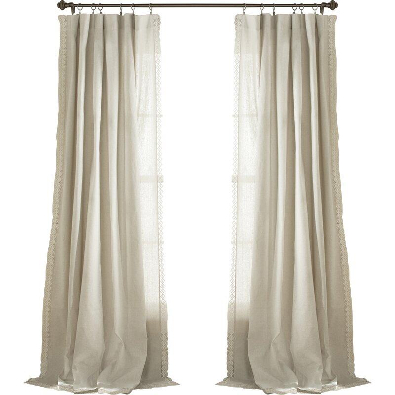 Arraignee Solid Semi Sheer Pinch Pleat Curtain Panels