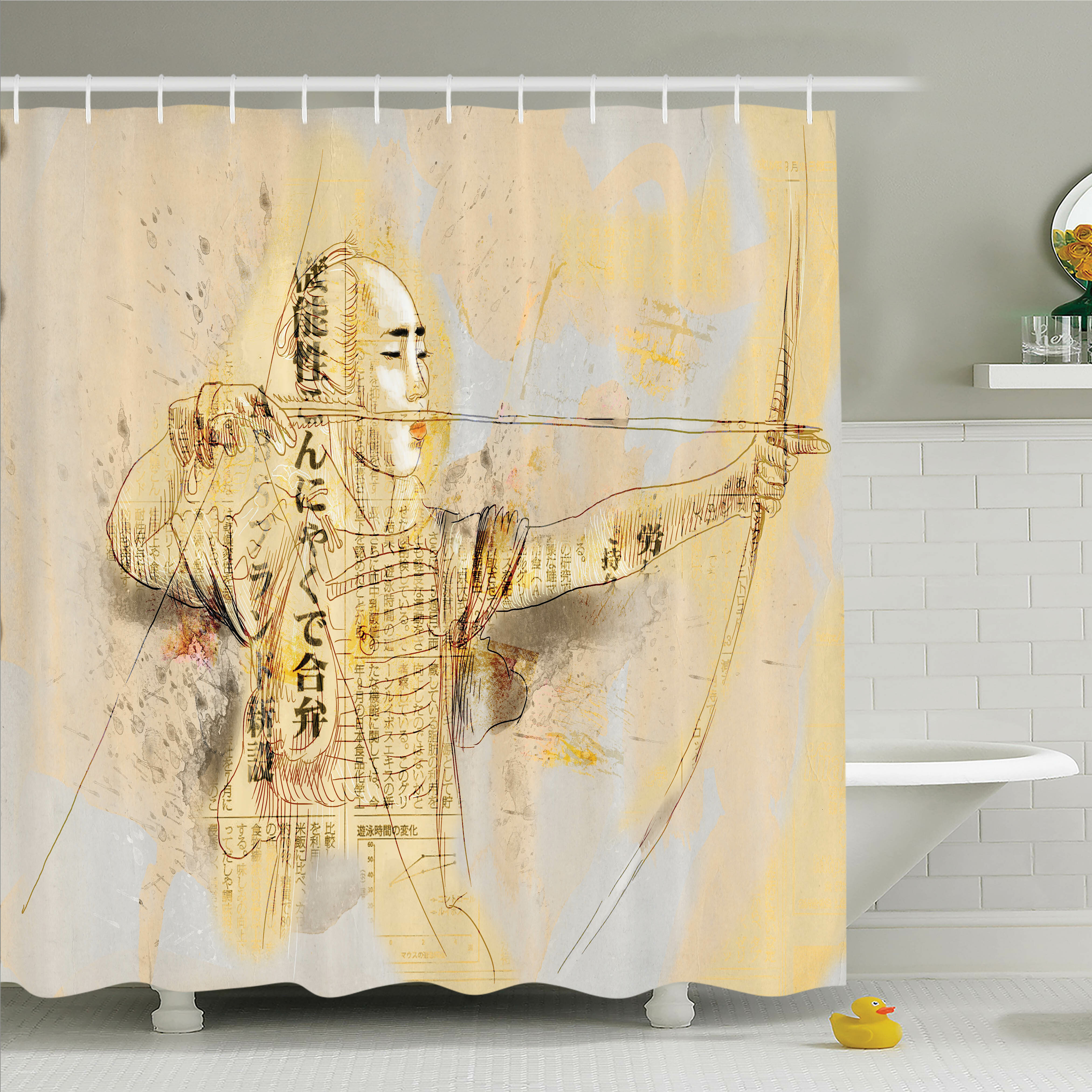 Latitude Run Rick Decor Archer Samurai Shower Curtain Set | Wayfair