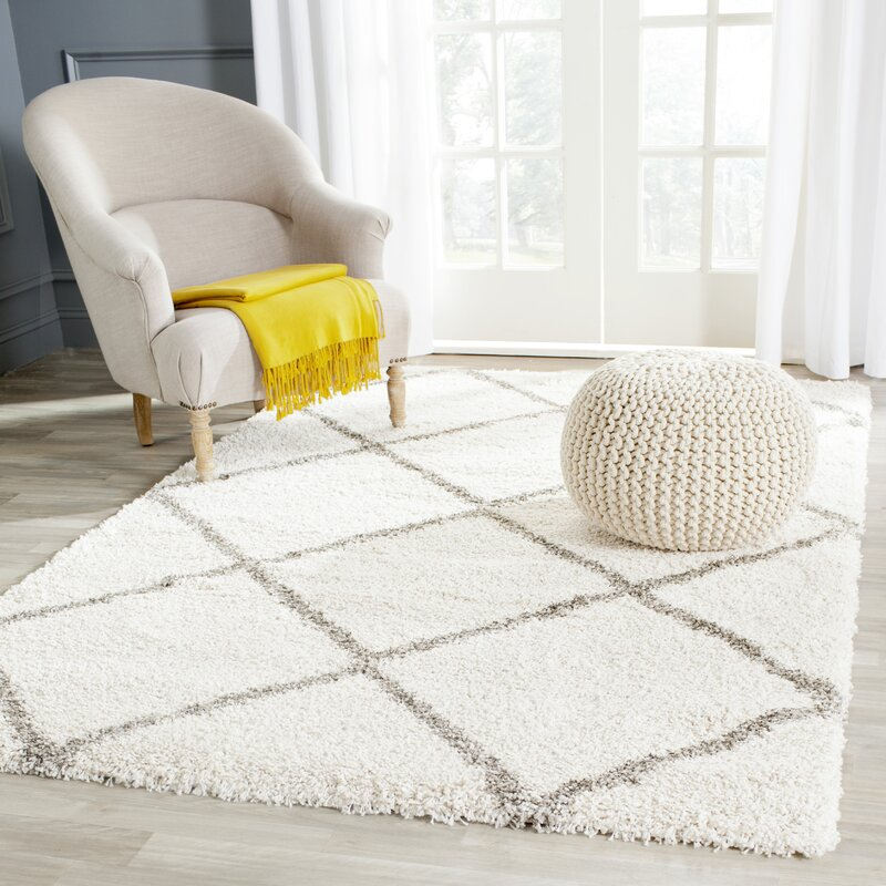 Perfect Duhon Ivory/Gray Shag Area Rug