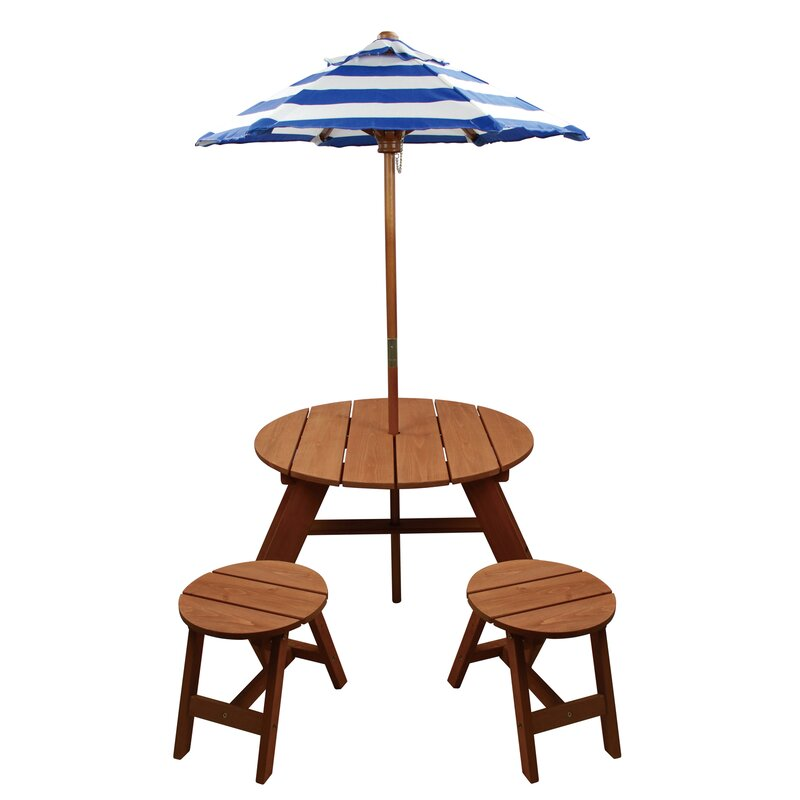 Homeware Kids 4 Piece Wood Round Table And Chair Set With Umbrella