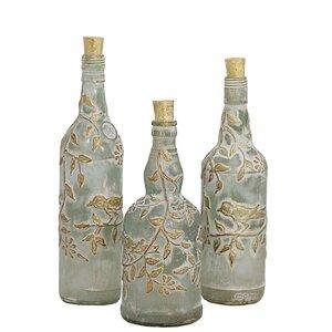 3 Piece Azur Glass Decorative Bottles