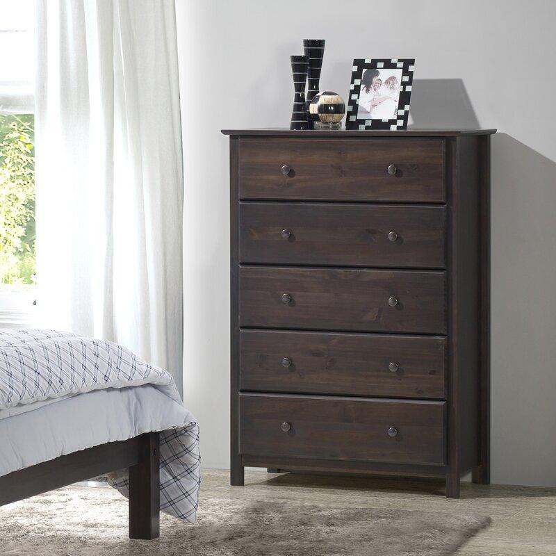 Grain wood furniture shaker 5 drawer chest reviews wayfair for Bedroom furniture soft close drawers