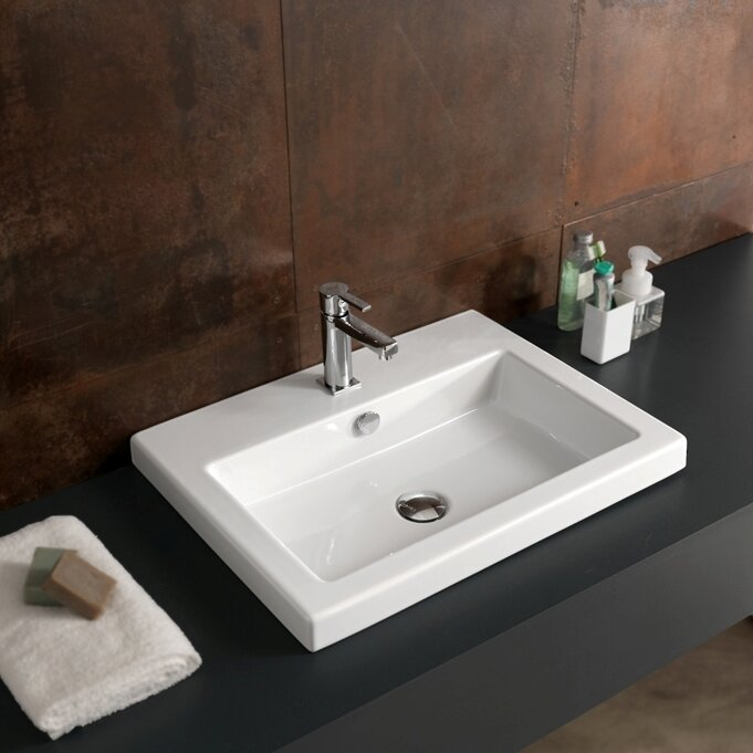 Cangas Ceramic Rectangular Drop In Bathroom Sink With Overflow