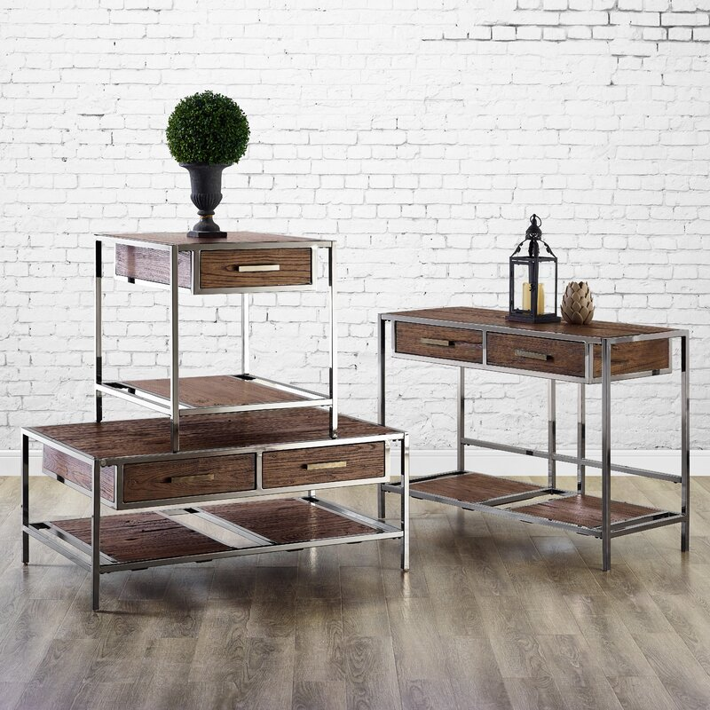 Falkner Modern Industrial Style 3 Piece Coffee Table Set