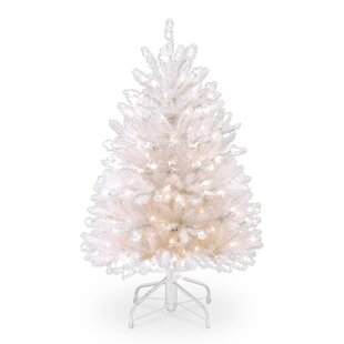 dunhill 45 white fir artificial christmas tree with 450 clear lights with stand - White Fake Christmas Tree