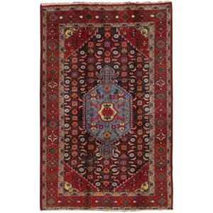 Bidjar Vintage Lamb's Wool Hand-Knotted Red/Navy Area Rug