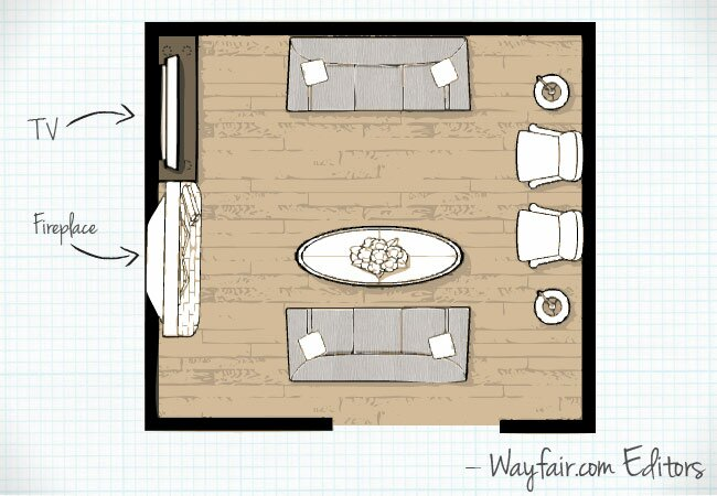 this layout is ideal for a large room or one that requires lots of seating since it features two sofas the sofas face each other with a coffee table in - Living Room Floor Plans
