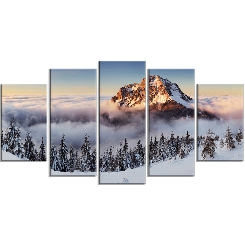 Winter Wall Art designart 'winter mountain landscape' 5 piece wall art on wrapped