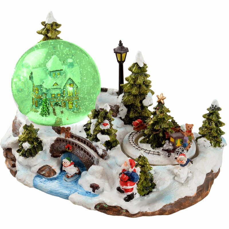 The Seasonal Aisle Animated Globe Musical Christmas Snow
