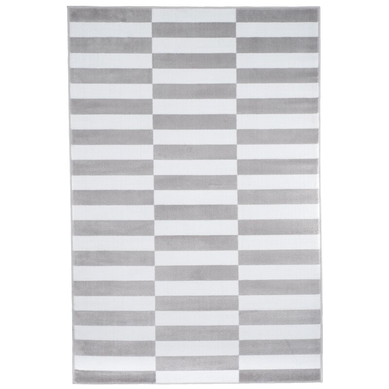 Checked Black Grey Rug