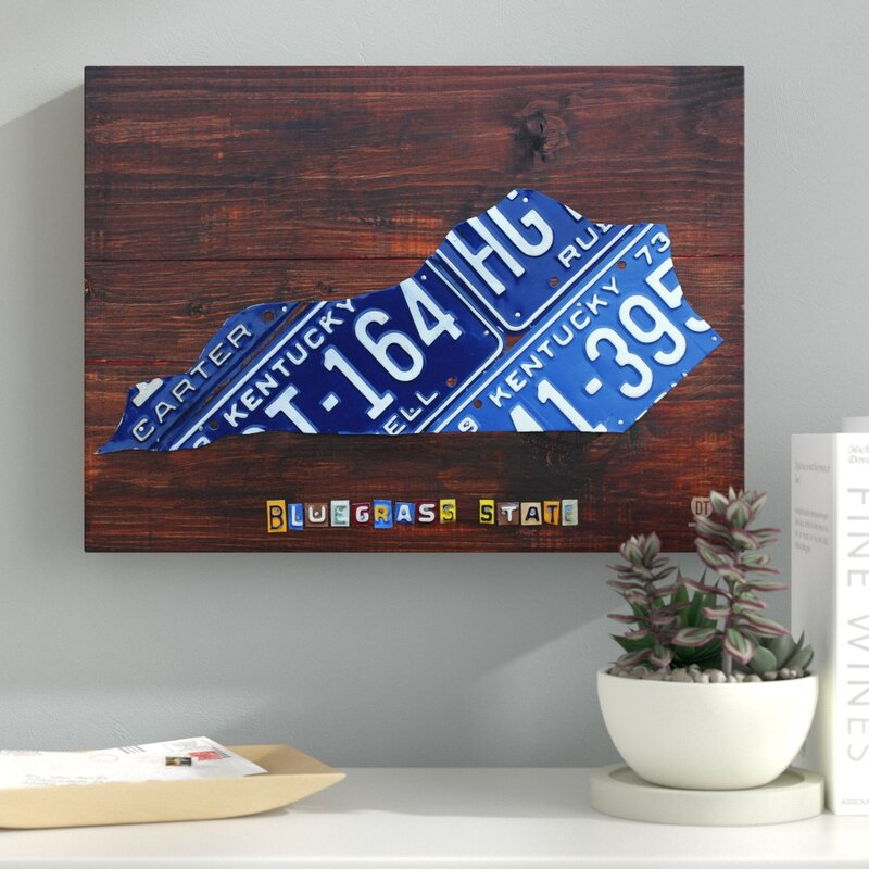 License Plate State Map.Latitude Run Kentucky License Plate Map By Design Turnpike By Design